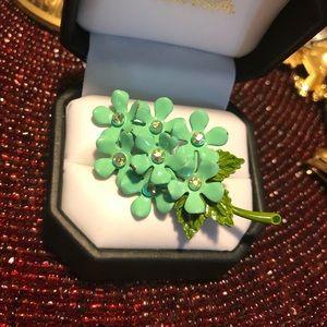 Vintage Petite Turquoise Enamel Flower Brooch Pin